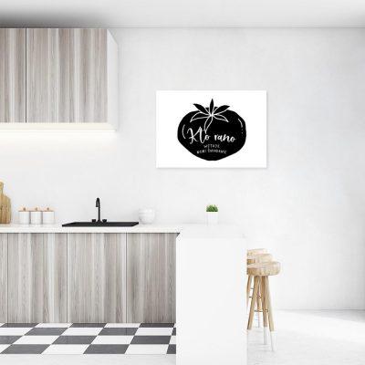 plakat przedstawiający napis Kto rano wstaje ten robi śniadanie do kuchni