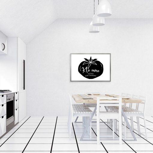 plakat z motywem napisu na pomidorze do kuchni