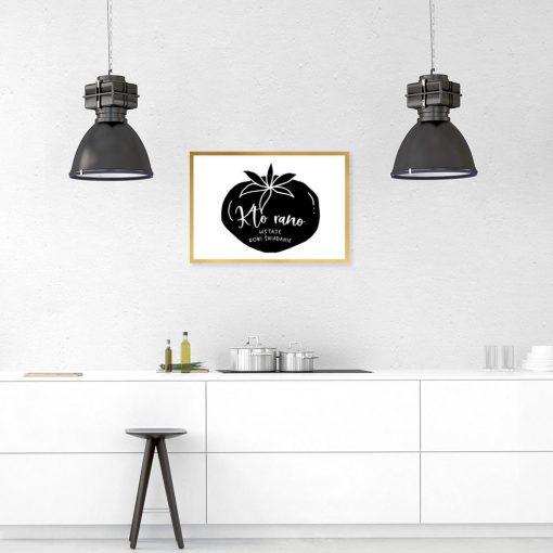 plakat przedstawiający pomidora i napis na ścianę do kuchni