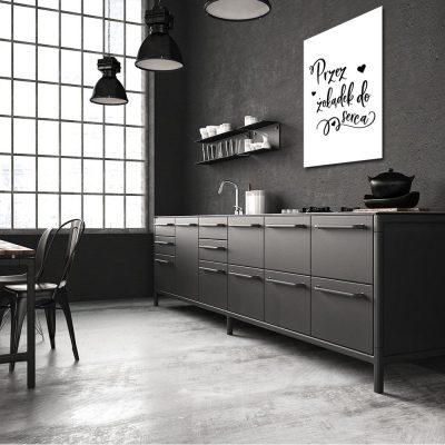 czarno-biały plakat z napisem do kuchni