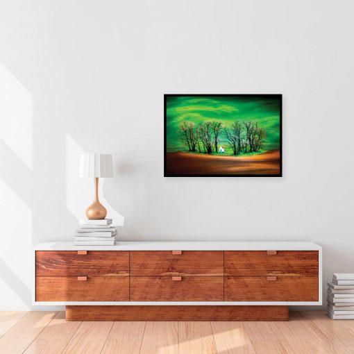 plakat zielony z krajobrazem