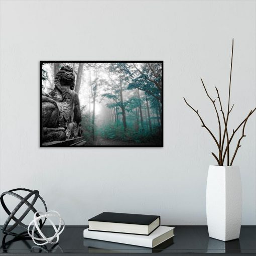 turkusowy plakat z drzewami