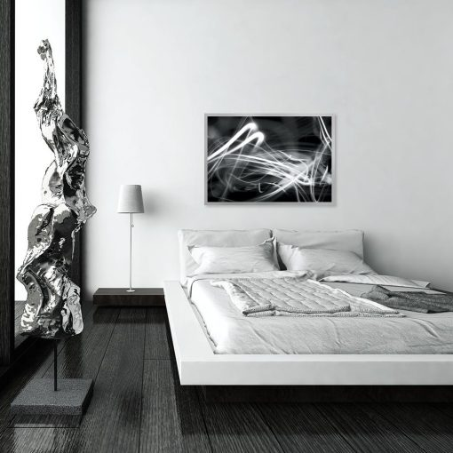 czarno-biały plakat z abstrakcją