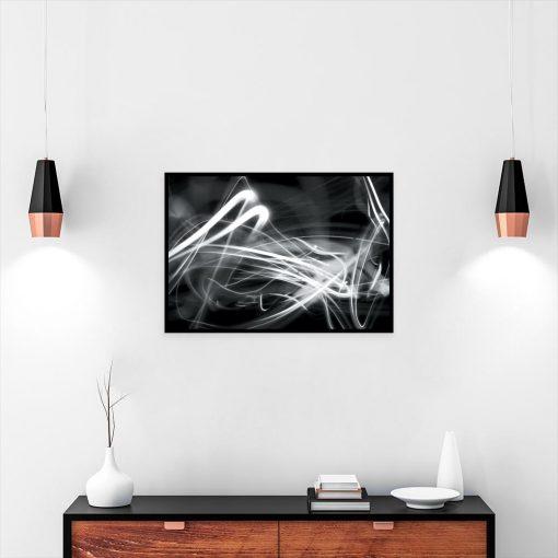 czarno-biały plakat z abstrakcyjnym wzorem