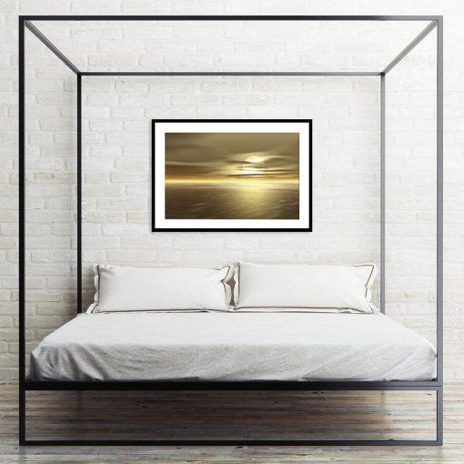 plakat morze i zachód słońca
