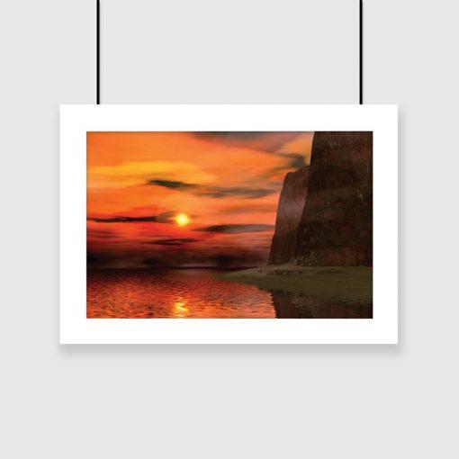 plakat z motywem zachodu słońca