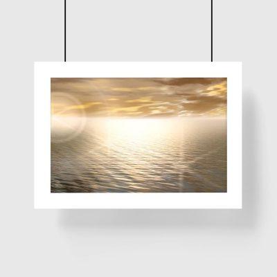 plakat z motywem morza i słońca