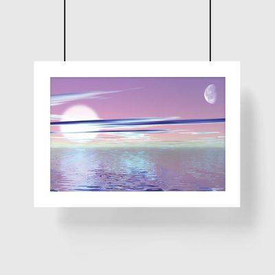 fioletowy plakat z morzem