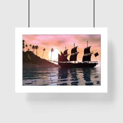 różowy plakat wyspa i palmy