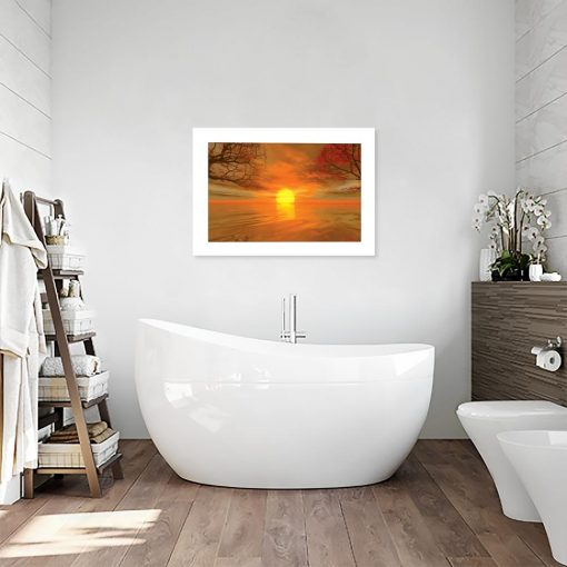pomarańczowy plakat z zachodem słońca