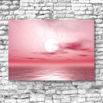 plakat różowy krajobraz