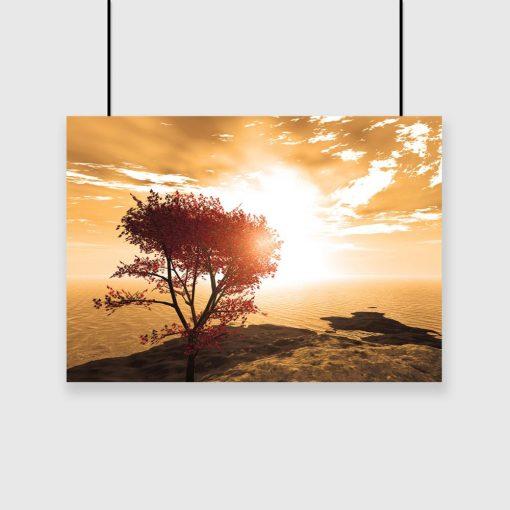 plakat drzewo i ocean