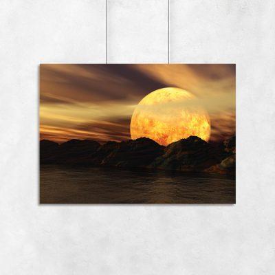 plakat księżyc i krajobraz