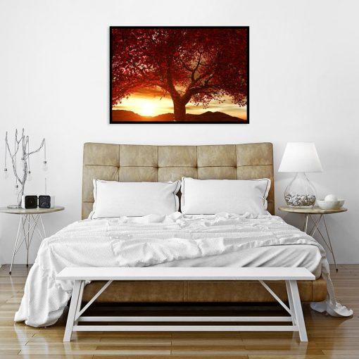 plakat drzewo i zachód słońca