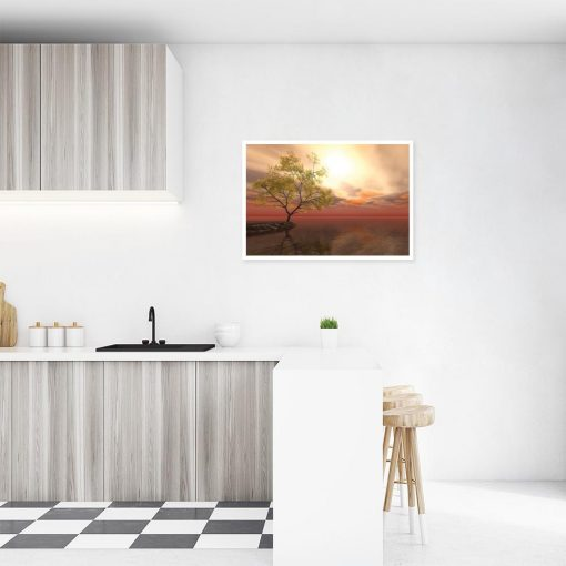 plakat pomarańczowy z krajobrazem