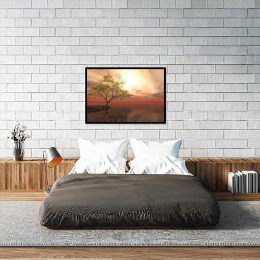 pomarańczowy plakat z krajobrazem
