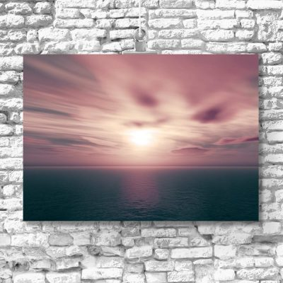 różowy plakat z krajobrazem