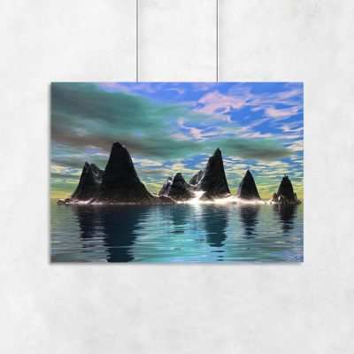 plakat na ścianę skały i morze