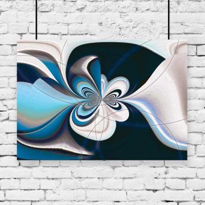 plakat z niebieską abstrakcją