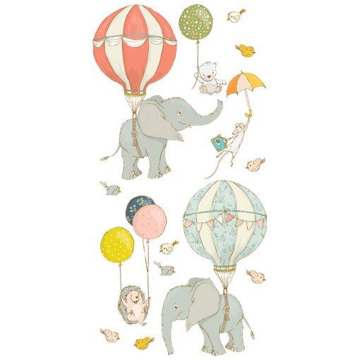 naklejka z uśmiechniętymi słonikami do pokoju dziecka