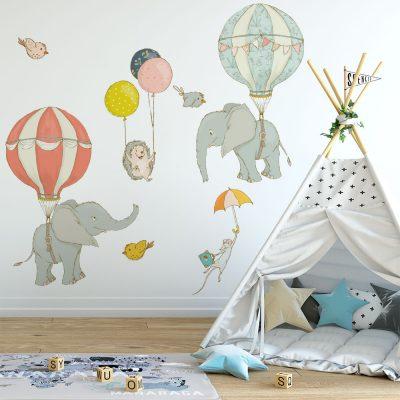 naklejka ścienna dla dzieci z balonami i słoniami