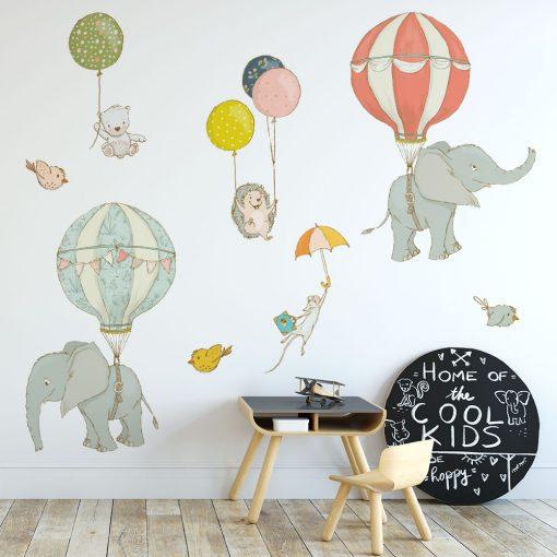 naklejka ze słonikami do pokoju dziecka