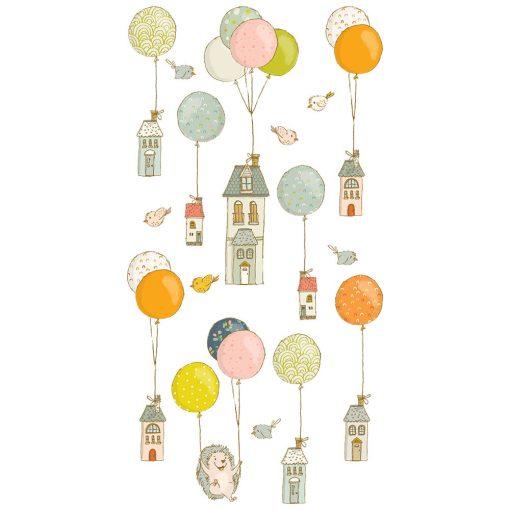 naklejka z domkami,balonikami i jeżem do pokoju dziecka
