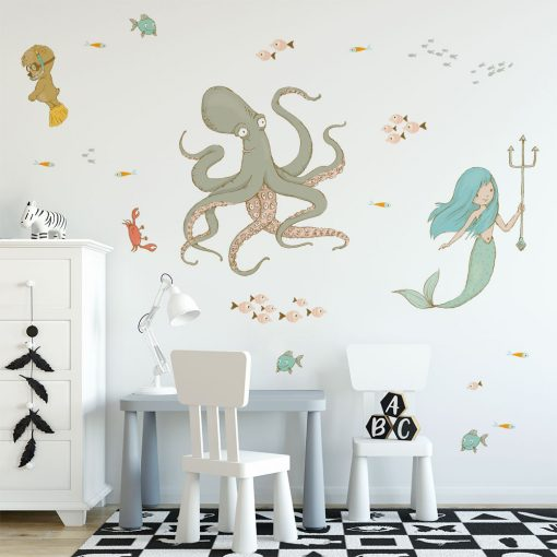 naklejka z morskimi stworzeniami na ścianę pokoju dziecka