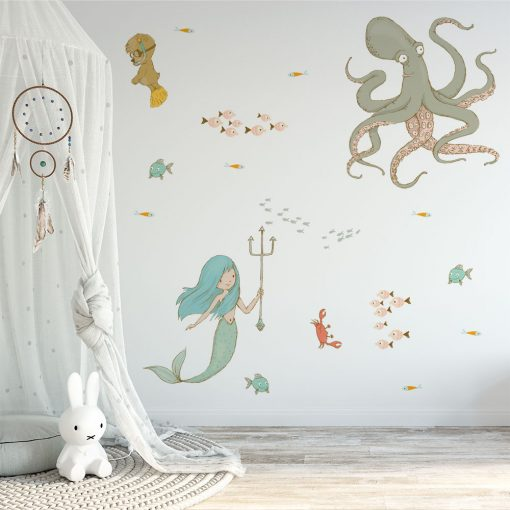 naklejka na ścianę pokoju dziecka z motywem morskich istot