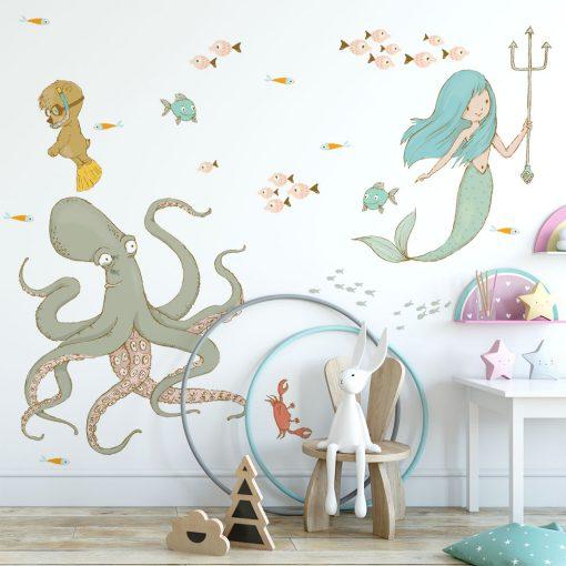 naklejka z morskimi istotami do pokoju dziecka