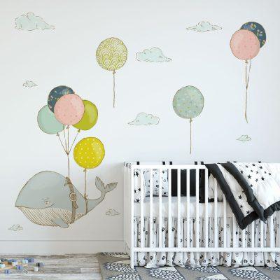 naklejka z motywem wieloryba i balonów dla dziecka