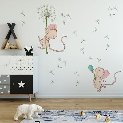 naklejka z motywem dwóch myszek do pokoju dziecka