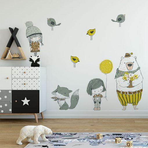 naklejka przedstawiająca zwierzęta i dzieci
