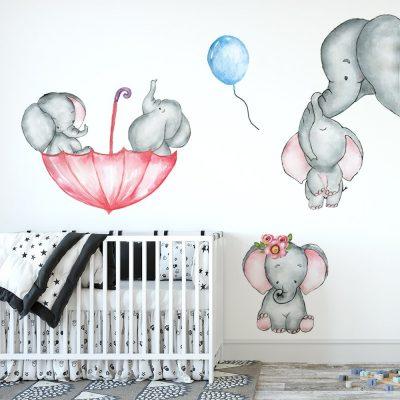 naklejka ze słonikami dla dzieci