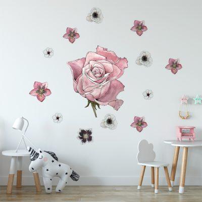 naklejka z różą na ścianę pokoju dziecka