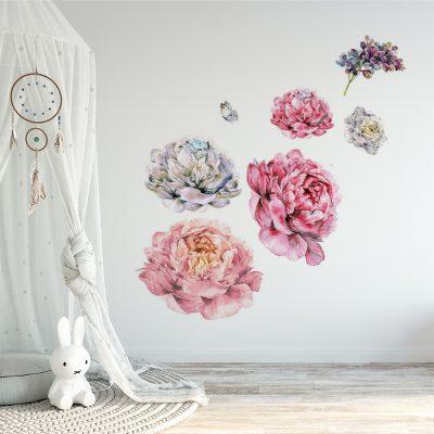naklejka ścienna do pokoju dziecka z kwiatami