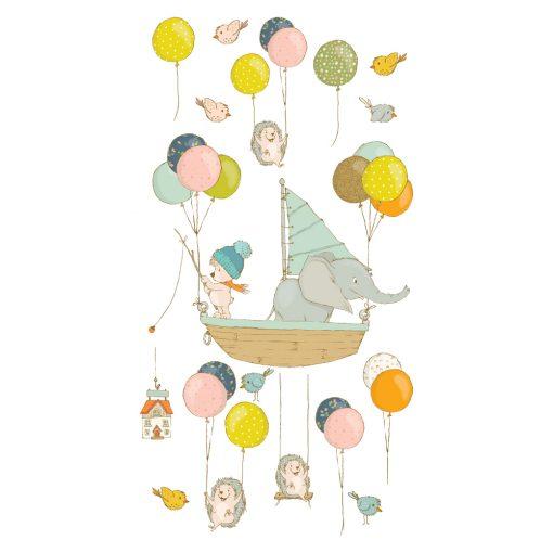 naklejka z motywem zwierząt i balonów dla dziecka