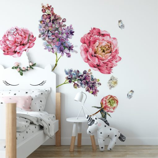 naklejka ścienna dla dziecka z kwiatami
