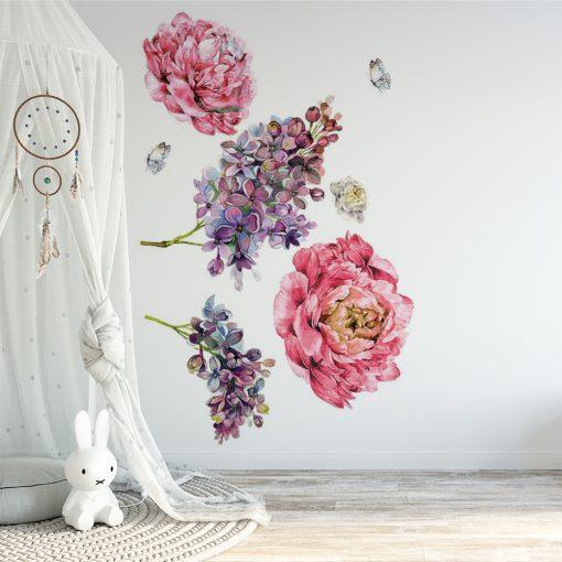 naklejka do pokoju dziecka z kwiatami