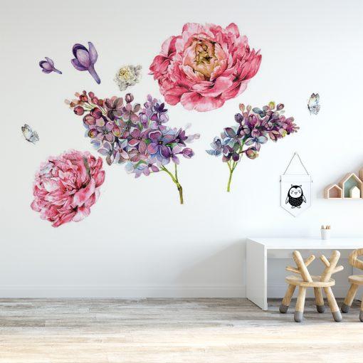 naklejka z motywem kwiatów na ścianę pokoju dziecka