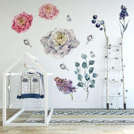 naklejka z kompozycją roślin do pokoju dziecka