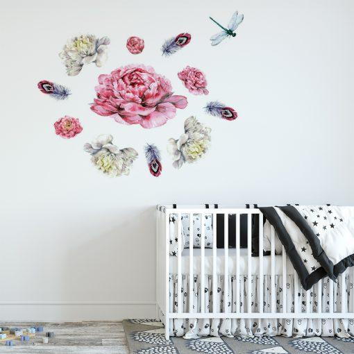 naklejka z motywem kwiecistej kompozycji do pokoju dziecka
