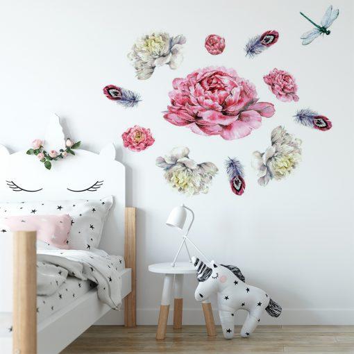naklejka z kwiatami i piórkami do pokoju dziecka