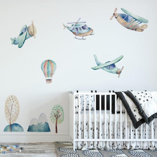 naklejka na ścianę pokoju dziecka z samolotami