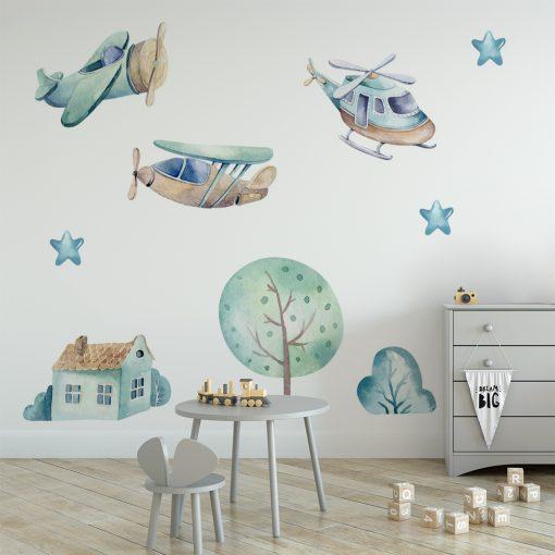 naklejka z latającymi samolotami do pokoju dziecka