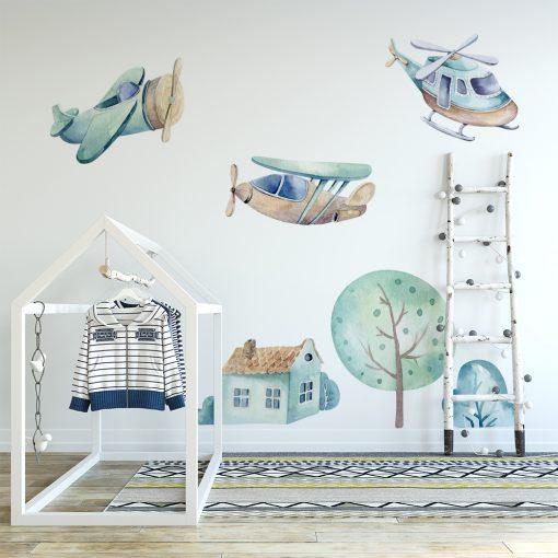 naklejka na ścianę pokoju dziecka z latającymi samolotami