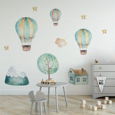 naklejka do pokoju dziecka z latającymi balonami