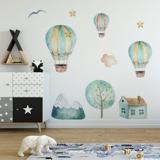 naklejka na ścianę do pokoju dziecka z latającymi balonami