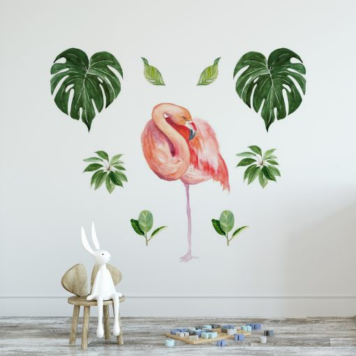 naklejka na ścianę pokoju dziecka z flamingami