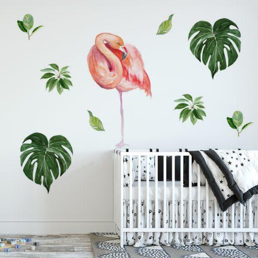 naklejka z tropikalnym motywem na ścianę pokoju dziecka